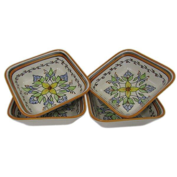 Salvena 12 oz. Square Stoneware Pasta/Salad Bowl (Set of 4) by Le Souk Ceramique