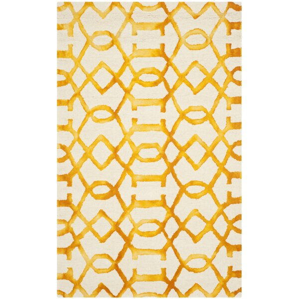 Sinclair Hand-Tufted Wool Ivory/Gold Area Rug by Mercer41