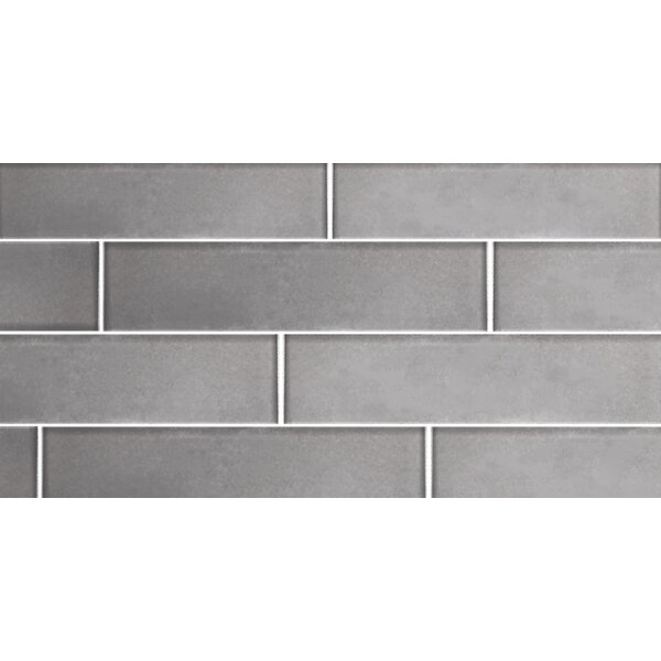 Secret Dimensions 3 x 12 Glass Subway Tile in Frosted Silver by Abolos