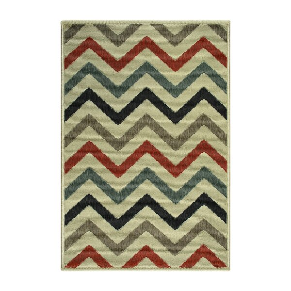 Wampler Chevron Beige Indoor/Outdoor Beige Area Rug by Wrought Studio
