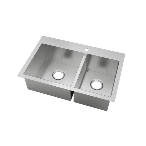 Stainless Steel 31 L x 21 W Drop-In Kitchen Sink with Sink Grid and Drain Assembly