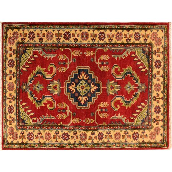 One-of-a-Kind Abingdon Hand-Knotted Red/Ivory Area Rug by Isabelline