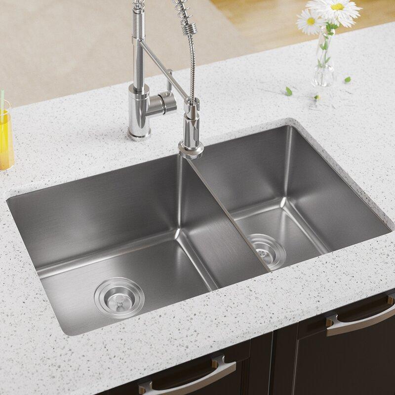 stainless steel 31   x 18   double basin undermount kitchen sink mrdirect stainless steel 31   x 18   double basin undermount kitchen      rh   wayfair com