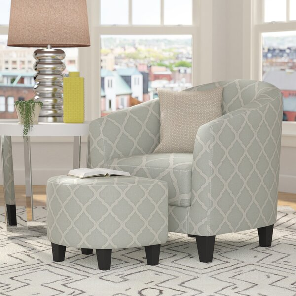 Allegra 2 Piece Upholstered Barrel Chair and Ottoman Set by Three Posts