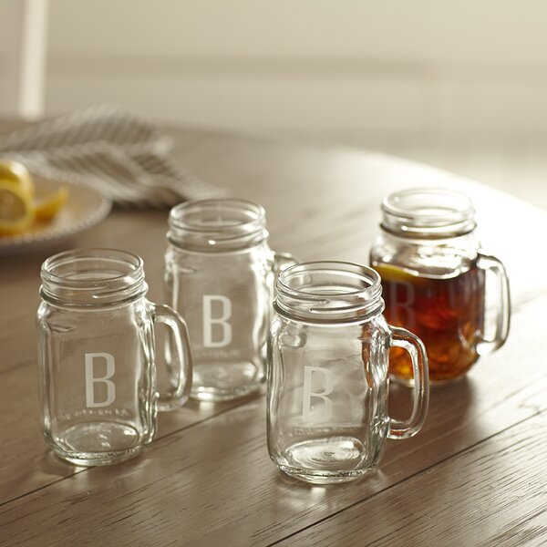 Monogrammed Drinking Jars with Handles (Set of 4) by Birch Lane™