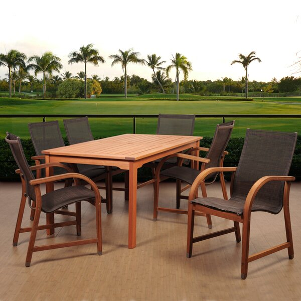 Tyrell International Home Outdoor 7 Piece Dining Set by Highland Dunes