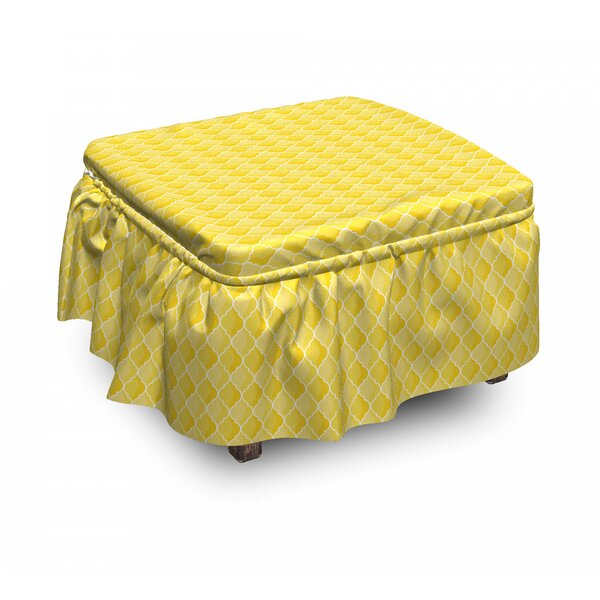 Moroccan Trellis 2 Piece Box Cushion Ottoman Slipcover Set By East Urban Home