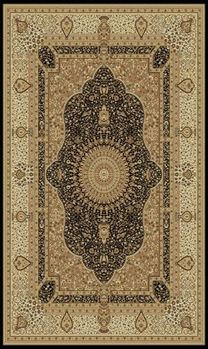 Tabriz Black Indoor/Outdoor Area Rug by Rug Factory Plus