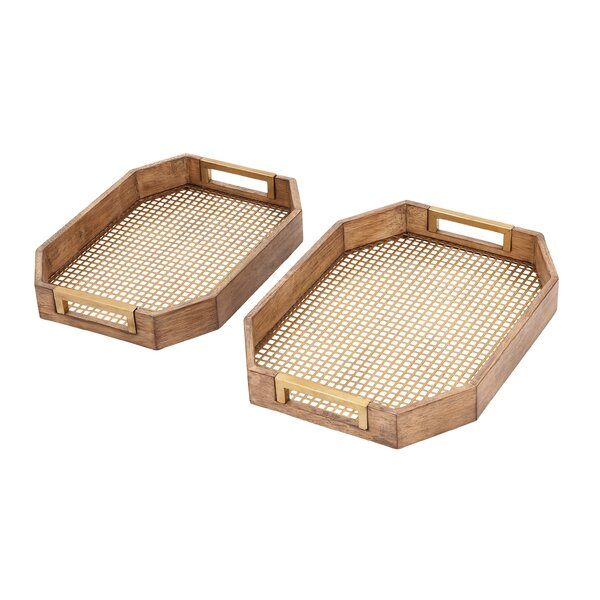 Wood Metal 2 Piece Accent Tray Set by Cole & Grey