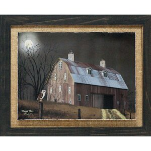 'Midnight Moon Primitive Country Farm Landscape' by Billy Jacobs Framed Photographic Print by Artistic Reflections