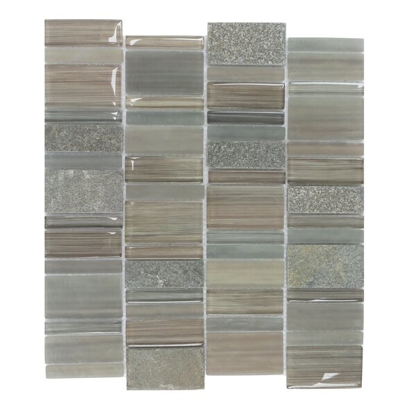 Watson Random Sized Glass and Stone Mosaic Tile in Taupe and Gray by Mulia Tile