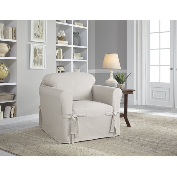 Relaxed Fit Box Cushion Armchair Slipcover By Serta