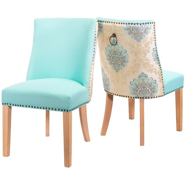 Mccardle Cotton Upholstered Side Chair in Aqua (Set of 2) by Rosdorf Park Rosdorf Park