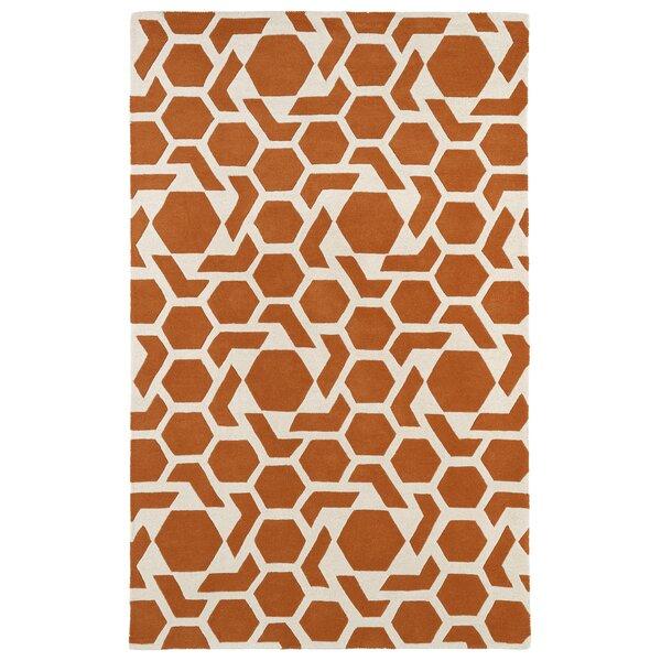 Fairlee Orange/White Area Rug by Wrought Studio