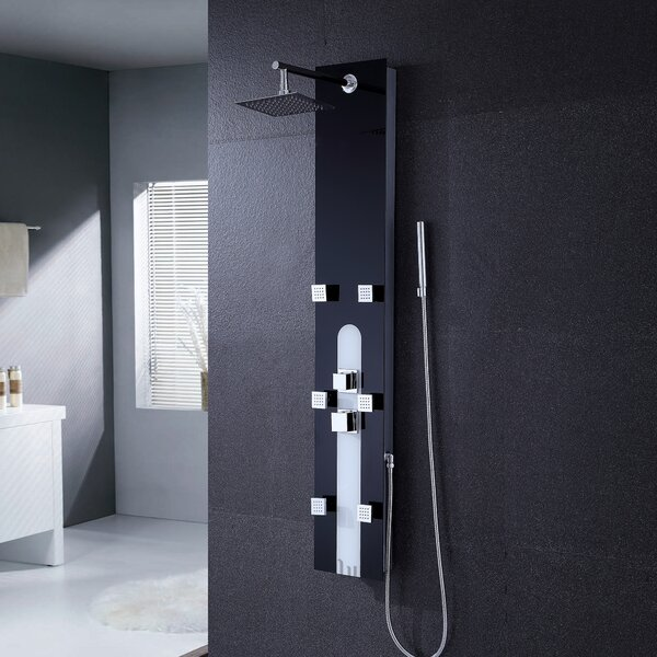 Tempered Glass Pressure Balanced Rain Shower Panel by Luxier