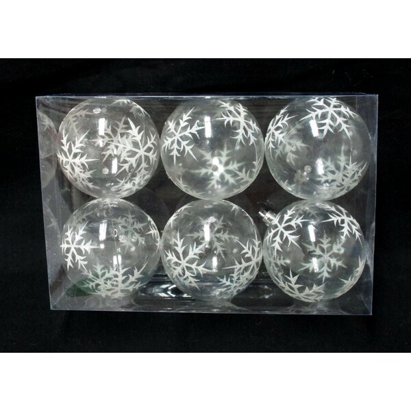 Clear Ball Ornament with Silver Glitter Snowflake (Set of 3) by Three Posts