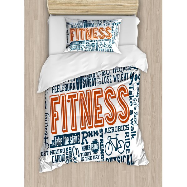 Fitness Related Words with Retro Style Typography Active Lifestyle Duvet Set by East Urban Home