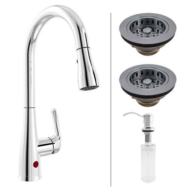 Premium Single Handle Touchless Kitchen Faucet with Garbage Disposal Stopper, Strainer and Soap Dispenser by Keeney Manufacturing Company