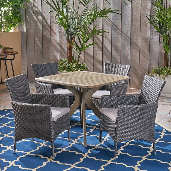 Sherilyn Outdoor 5 Piece Dining Set with Cushions by Gracie Oaks