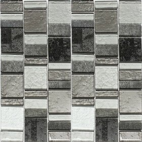 Riviera Random Sized Natural Stone/Glass Mosaic Tile in Artic Gray by Vetromani