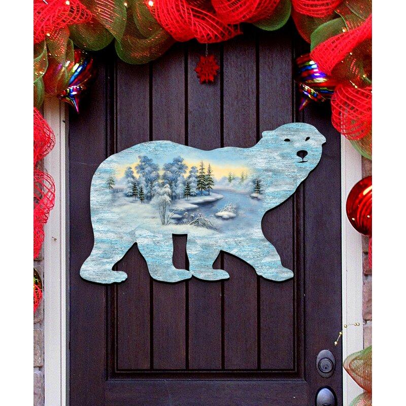 polar bear winter artic land wooden decorative door hanger wall dcor