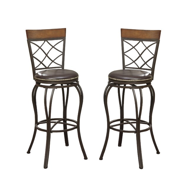 Bobkona Lorelei 29 Swivel Bar Stool (Set of 2) by Poundex