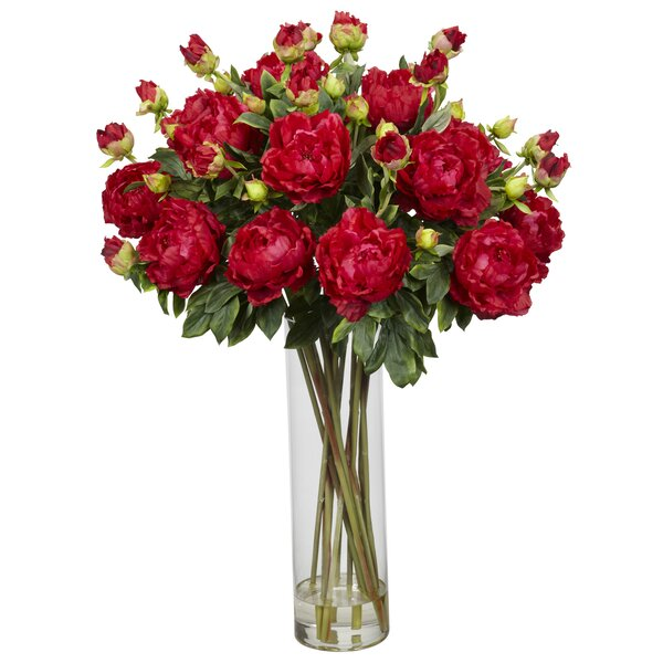 Giant Peony Silk Flower Arrangement in Red by Nearly Natural