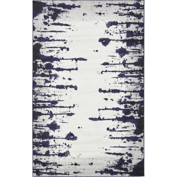 Sidney Hand Tufted Ivory/Navy Blue Area Rug by Wrought Studio