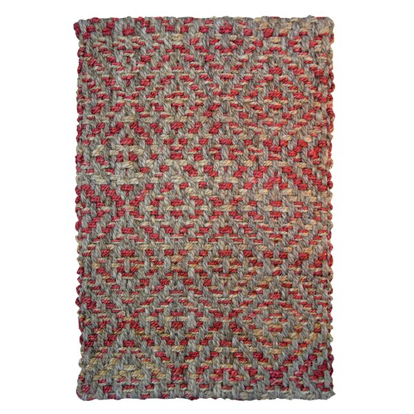 One-of-a-Kind Calliope Diamond Hand-Woven Gray/Red Indoor/Outdoor Area Rug by Millwood Pines