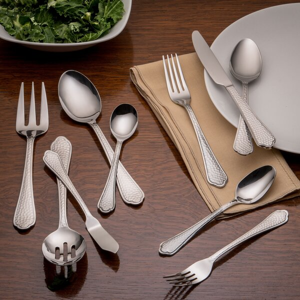 Pepper Hammered 45 Piece 18/0 Stainless Steel Flatware Set, Service for 8 by Farberware