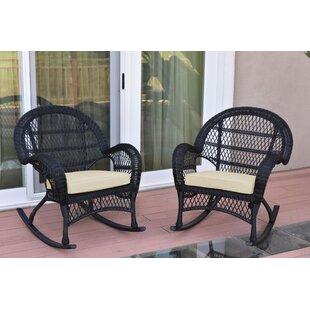 Berchmans Wicker Rocker Chair With Cushions (Set Of 2)