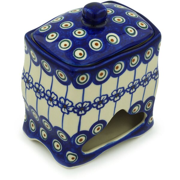 Polish Pottery Flowering Peacock with Lid Kitchen Canister by Polmedia