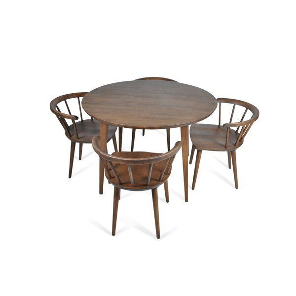 Burgan 5 Piece Solid Wood Breakfast Nook Dining Set by Union Rustic