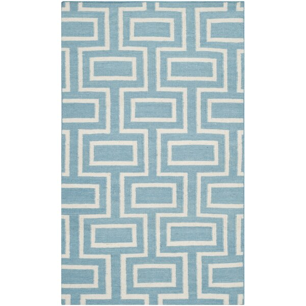 Dhurries Hand-Woven Wool Light Blue Area Rug by Safavieh