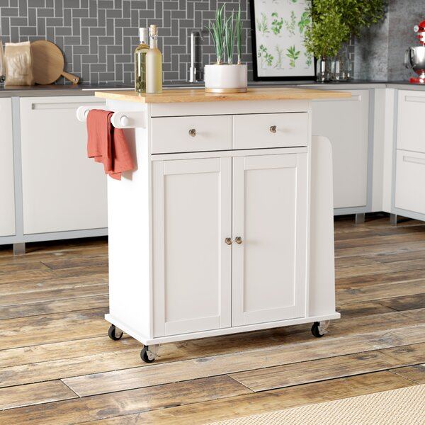 Ferraro Kitchen Cart with Wooden Top by Alcott Hill