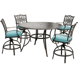 Lauritsen 5 Piece Bar Height Dining Set with Cushions By Three Posts