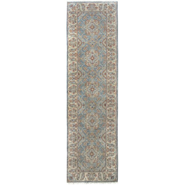 One-of-a-Kind Abbigail Hand-Knotted Wool Blue/Ivory Area Rug by Isabelline
