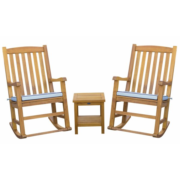 Womack Oceanside 3 Piece Teak Sunbrella Seating Group with Cushions by Bayou Breeze