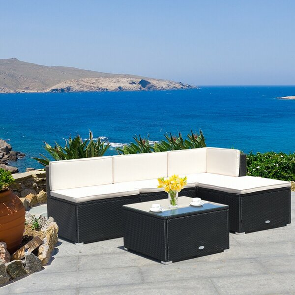 Damit 5 Piece Rattan Sectional Seating Group with Cushions by Latitude Run