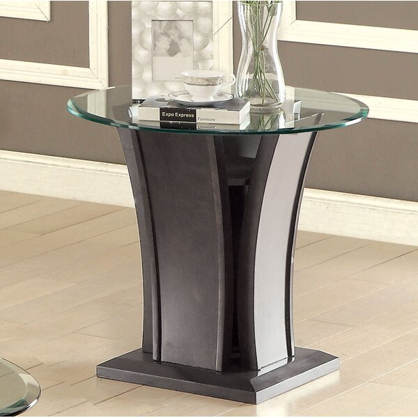 Pettegrow Glass Top Pedestal End Table By Latitude Run