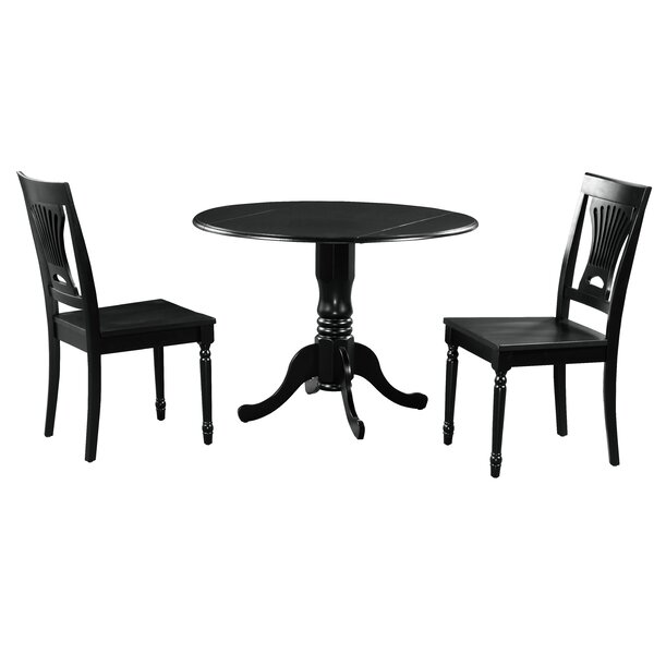 Brompton 3 Piece Drop Leaf Solid Wood Dining Set by Alcott Hill Alcott Hill