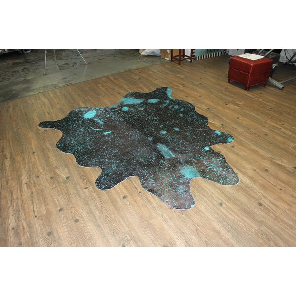 One-of-a-Kind Marshal Hand-Woven Cowhide Aqua Blue Area Rug by Bloomsbury Market