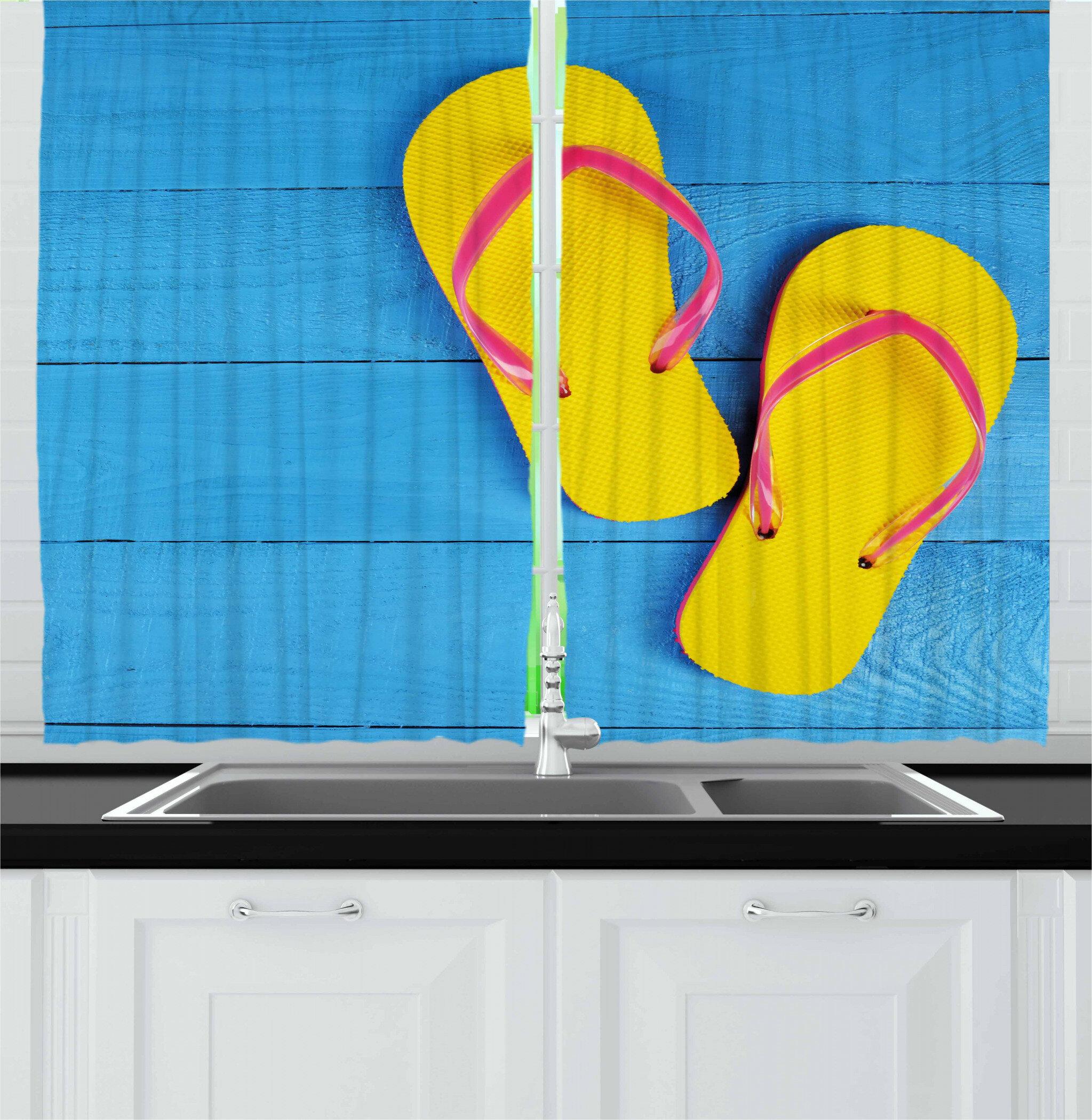 East Urban Home 2 Piece Flip Flops On Wooden Pier Cheerful Holiday Travel Relax Image Kitchen Curtain Wayfair