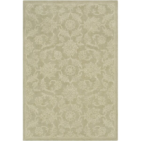 Argent Floral Hand Hooked Wool Sage Area Rug by Charlton Home