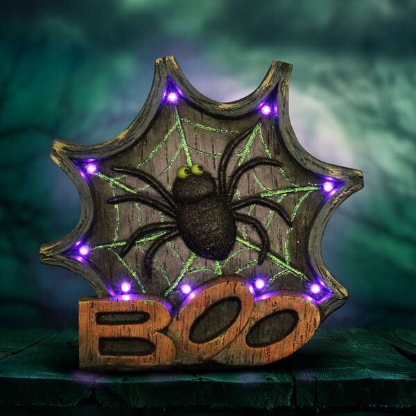 Spider Web Marquee Oversized Figurine with Timer by The Holiday Aisle