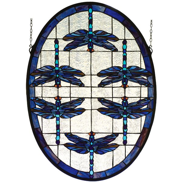 Dragonflies Stained Glass Window by Meyda Tiffany