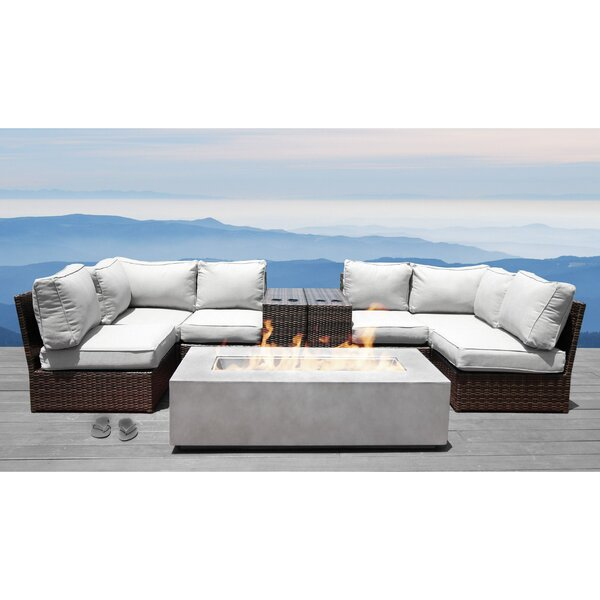 Vasil 9 Piece Rattan Sectional Set with Cushions by Orren Ellis