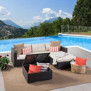 Jefcoat Outdoor Rattan 5 Piece Sectional Set with Cushions ByBrayden Studio