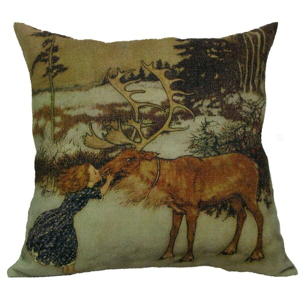 Gerta and Reindeer Throw Pillow by Golden Hill Studio