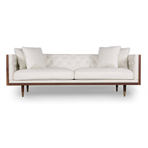 Low Priced Lancaster Standard Classic Midcentury Leather Sofa by Comm Office by Comm Office